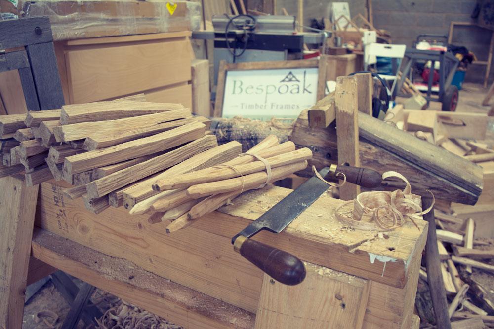 Oak pegs for oak trusses